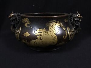"3.5"" A CHINESE BRONZE PHOENIX HANDLED INCENSE BURNER CENSER WITH XUANDE MARK"