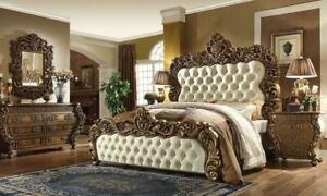 Rich Walnut Golden Finish Cal King Bedroom 5Pcs Traditional Homey Design HD-8011