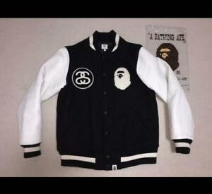 A BATHING APE BAPE STUSSY 11SS Fittest Varsity Souvenir Jacket Size S From Japan