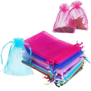 100 200 Organza Wedding Party Favor Gift Bags Candy Sheer Bag Jewelry Pouches