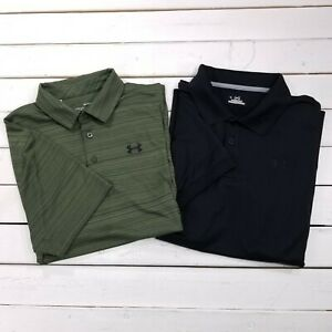 Lot of 2 Under Armour Heatgear Golf Polo Mens Large Striped Short Sleeve P45