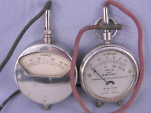 2 VINTAGE VOLT AMP METER GAUGE - STEAMPUNK ANTIQUE COOL Pocket Size Eveready