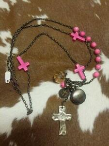 Pink Cross Long Necklace.