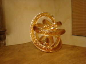 BEAUTIFUL HAND BLOWN ABSTRACT MURANO ART GLASS CARAMEL SOLID TWISTED  SCULPTURE