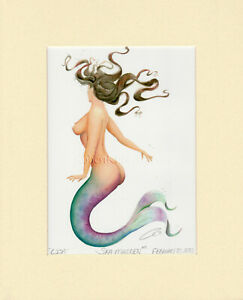 Mermaid Lisa Matted Print Fantasy Pin Up Art Fantasy Gift Beach Home Wall Decor $39.99