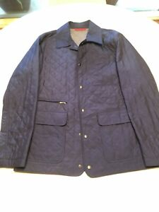 NWT ISAIA Royal Blue Quilted Weather-Repellent Jacket Coat M