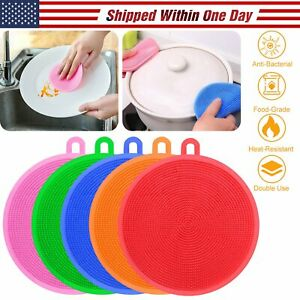 5PCS Round Silicone Dish Washing Kitchen Cleaning Sponge Scrubber Anti bacterial