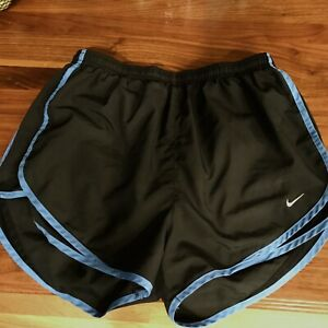 Womens NIKE Dri Fit Tempo Running Shorts Sz medium Black With Blue Trim