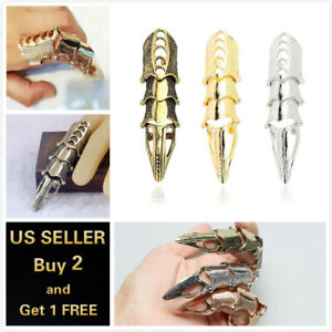 Gold Silver Mens Gothic Claw Ring Full Knuckle Spike Claw Armour Metallic Finger $5.99