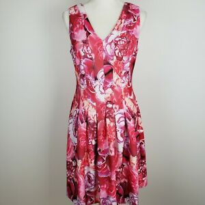 Tommy Hilfiger Size 6 A Line Dress Pink Floral Scuba Pleated Womens $18.20