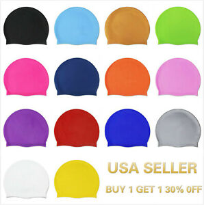 Silicone Swimming Cap Solid Color Long Hair Clean Swim Pool For Adult Men Women $4.89