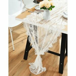 Vintage Lace Wedding Table Runner White Floral Rustic Wedding Party Table Decor