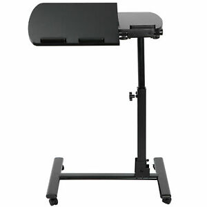 Angle & Height Adjustable Rolling Laptop Desk Cart Over Bed Hospital Table Stand