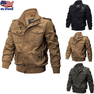 Men Air Force Military Jacket Stand Collar Coat Tactical Casual Outwear Overcoat