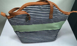 Fit & Fresh Samantha Insulated Lunch Bag, Stylish Tote, Navy Nautical Stripe wit