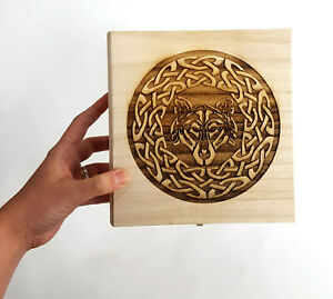 Celtic Wolf Wooden Box 7.5quot; x 7.5quot; x 2.75quot; Free Engraved Personalization $24.10