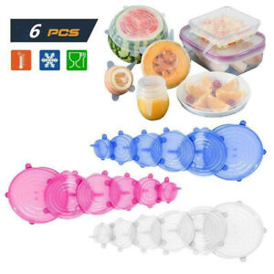 12pcs Silicone Stretch Bowl Wraps Food Saver Covers Seal Insta Lids Reusable us