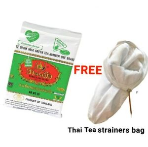 Thai Iced Milk Green Tea Number One Brand Original Tea Mix, Free tea bag 200g.