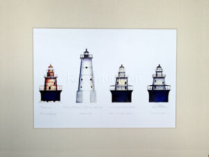 Spark Plug Lighthouses Art 11quot; x 14quot; Matted Print Rhode Island Gift Home Decor $39.99