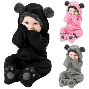 Infant Baby Kid Girl Boy Solid Cartoon Ear Hoodie Romper Clothes Fleece Jumpsuit $14.99