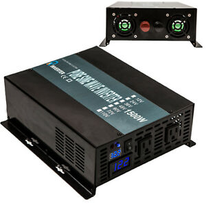 1500W Pure Sine Wave Power Inverter 12VDC to 120V AC 60HZ Solar Home System