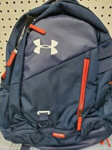 Under Armour UA Hustle 4.0 Storm Backpack laptop sleeve NEW Blue red $32.99