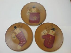 Primitive Christmas Snowman Wooden Plate Decor Barbara Lloyd Folk Art Set of 3
