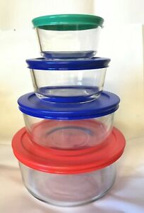 Pack of 4 Pyrex Round Glass Food Storage Container W/Lid 1, 2 ,4, 7 cup SALE!!!!