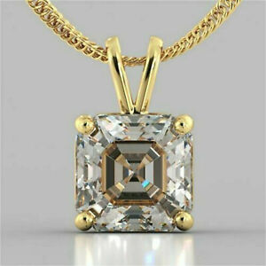 2.93Ct Asscher cut Solitaire Diamond Pendant Solid 14K Yellow Gold No chain