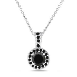 Platinum Black Diamond Pendant Necklace 1.25 Carat Handmade
