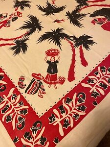 Vintage Mexican Theme Tablecloth Unmarked 49