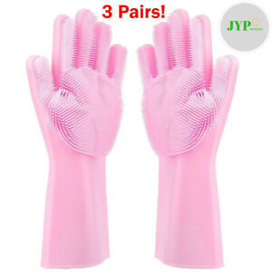 3 Pair Magic Silicone Dish Washing Gloves Rubber Scrubber 2 in 1 Heat Resistant