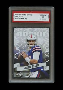 JOSH ALLEN 2018 #x27;18 LEAF PRIZED #09 1ST GRADED 10 ROOKIE CARD RC BUFFALO BILLS