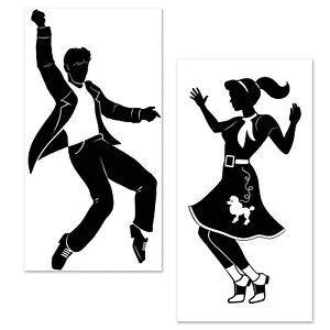 50's Rock & Roll Grease Party Wall Decoration Sock Hop Dancers Add On PROPS