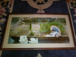 Framed Victorian Lithograph NIGHTINGALE Woman reclining on Boat w Swans 18x11 $39.99