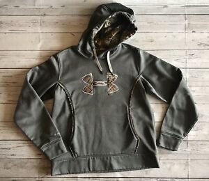 EUC Women's UNDER ARMOUR Hoodie, Gray Camo Realtree Logo Pullover, Size Large $26.00