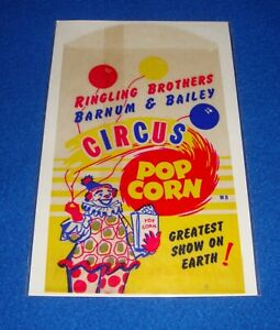 VINTAGE RINGLING BROTHERS BARNUM BAILEY CIRCUS POP CORN BAG NOS $4.24