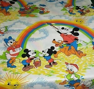 VINTAGE PACIFIC DISNEY MICKEY MOUSE PAINTING RAINBOW TWIN FLAT SHEET FABRIC BED