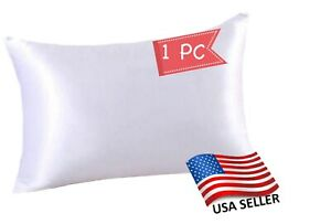 Silk Satin Pillowcase 1 Pack Silky Pillow Cases for Hair and Skin Pure WHITE