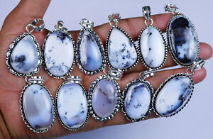 New 200 PCs Lot Natural Dendritic Agate Gemstone Silver Plated Designers Pendant