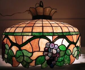 Antique Stained Glass 2 FT Wide Hanging Lamp With Vine Design.