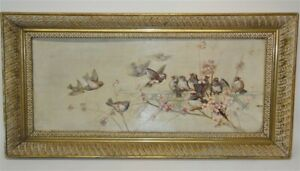 Antique Oil Painting Gilt Frame Sparrows On A Branch 1892 $160.00
