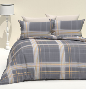 3-pc Duvet Cover Set, Checked Pattern, Cotton, Made in Turkey (Includes 2 Shams)