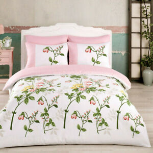3-pc Duvet Cover Set, Floral Pattern, Pink, Cotton, Made in Turkey (+2 Shams)