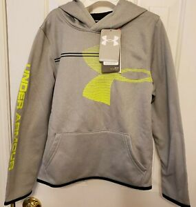 NWT UNDER ARMOUR Steel Light Heather Boys Armour Fleece® Hoodie Size YSM $19.99