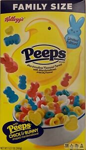NEW LIMITED KELLOGGS FAMILY SIZE PEEPS MARSHMALLOW FLAVORED CEREAL 12.7 OZ BOX