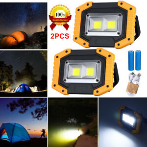2-Pack LED Floodlight Rechargeable COB Work Light Portable 30W With USB IN USA
