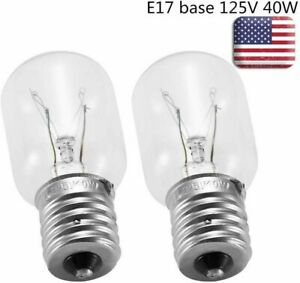 2Pack Light Bulb for Whirlpool Microwave E17Base 125V 40W Replace Part# 8206232A