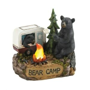 Unique Camping Figurine wLight-Up Camp Fire Outdoor Patio Decor Bear Camper