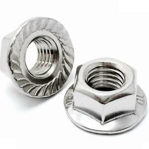 18-8 Stainless Steel Serrated Hex Flange Lock Nuts, 6-32 8-32 10-24 10-32 1/4-20